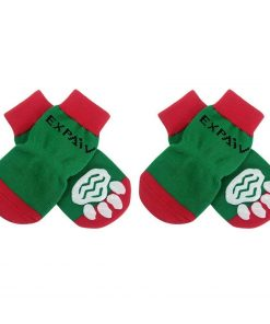 EXPAWLORER Christmas Dog Socks Non Slip for Hardwood Floors - Anti-Slip Socks for Small to Large Dogs, Traction Control, Paw Protection