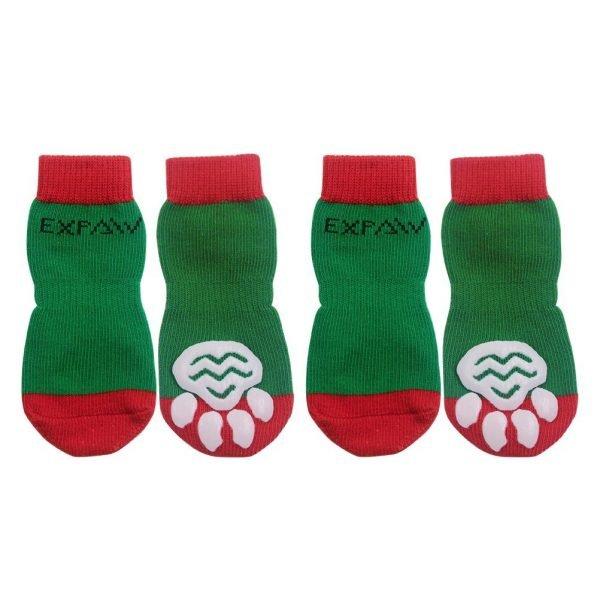 EXPAWLORER Christmas Dog Socks Non Slip for Hardwood Floors - Anti-Slip Socks for Small to Large Dogs, Traction Control, Paw Protection 3