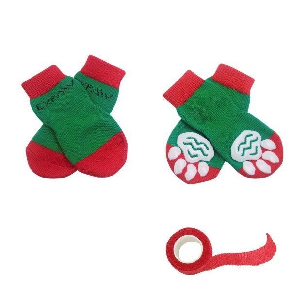 EXPAWLORER Christmas Dog Socks Non Slip for Hardwood Floors - Anti-Slip Socks for Small to Large Dogs, Traction Control, Paw Protection 5
