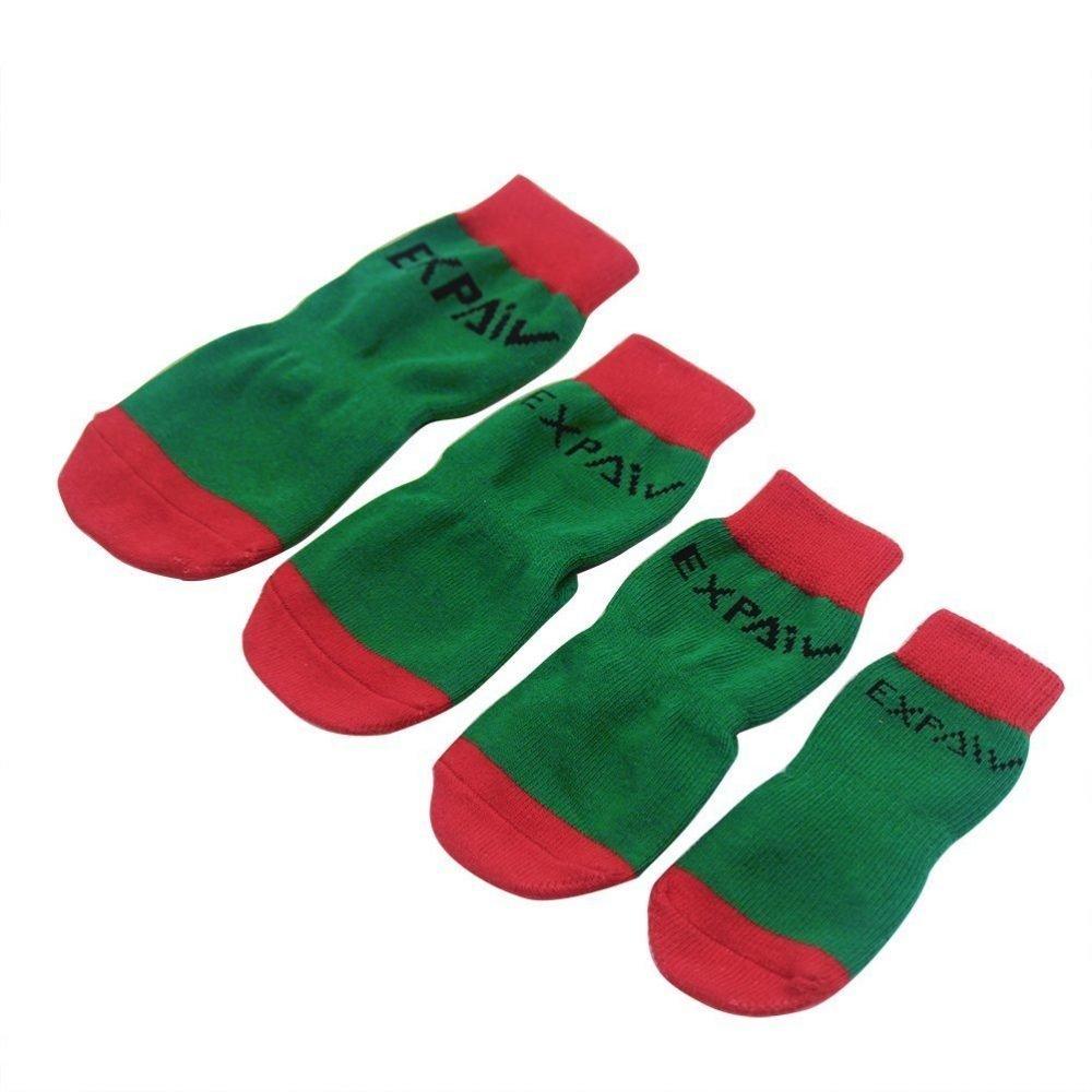 Expawlorer Christmas Dog Socks Non Slip For Hardwood Floors