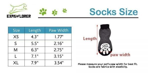 EXPAWLORER Dog Socks Traction Control Anti-Slip for Hardwood Floor Indoor Wear, Paw Protection Grey. 2