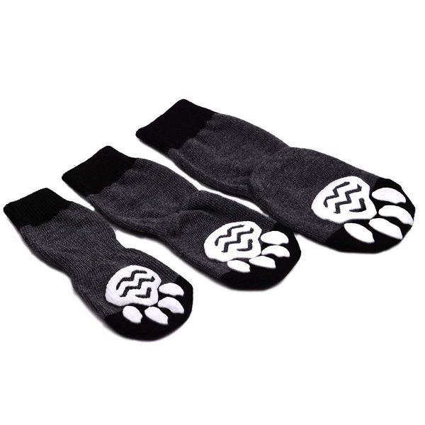 EXPAWLORER Dog Socks Traction Control Anti-Slip for Hardwood Floor Indoor Wear, Paw Protection Grey. 5