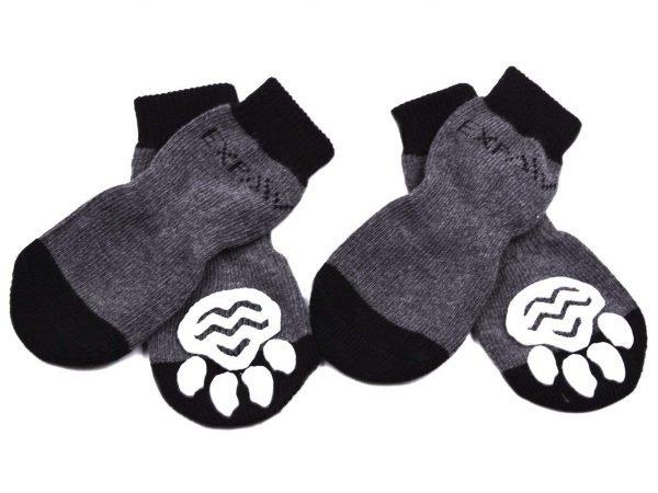 EXPAWLORER Dog Socks Traction Control Anti-Slip for Hardwood Floor Indoor Wear, Paw Protection Grey.