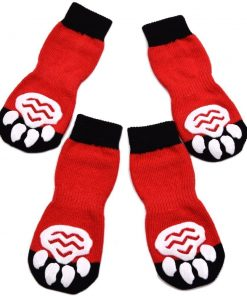 EXPAWLORER Dog Socks Traction Control Anti-Slip for Hardwood Floor Indoor Wear, Paw Protection Red
