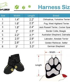 EXPAWLORER Waterproof Dog Boots Reflective Non Slip Pet Booties for Medium Large Dogs Black 4 Pcs 2