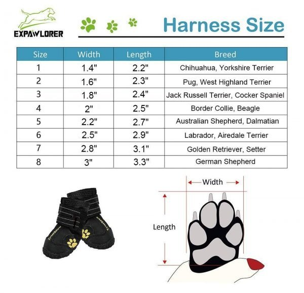 EXPAWLORER Waterproof Dog Boots Reflective Non Slip Pet Booties for Medium Large Dogs Black 4 Pcs 2