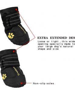 EXPAWLORER Waterproof Dog Boots Reflective Non Slip Pet Booties for Medium Large Dogs Black 4 Pcs 3