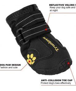 EXPAWLORER Waterproof Dog Boots Reflective Non Slip Pet Booties for Medium Large Dogs Black 4 Pcs 4