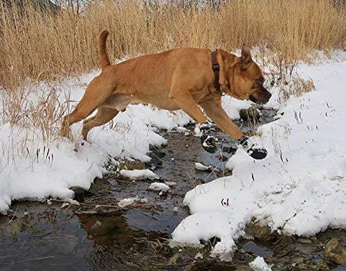 EXPAWLORER Waterproof Dog Boots Reflective Non Slip Pet Booties for Medium Large Dogs Black 4 Pcs 5