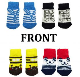 FUNPET 4 Pairs Dog Socks Paw Protectors with Knit Anti-Slip Traction Soles for Small Dogs and Cats Indoor - S 2