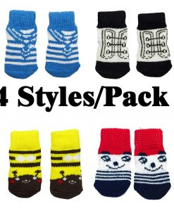 FUNPET 4 Pairs Dog Socks Paw Protectors with Knit Anti-Slip Traction Soles for Small Dogs and Cats Indoor - S