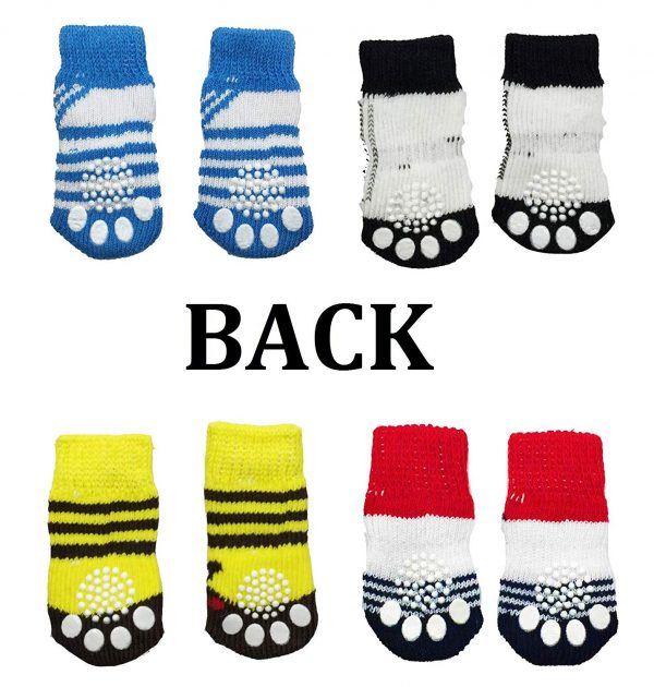 FUNPET 4 Pairs Dog Socks Paw Protectors with Knit Anti-Slip Traction Soles for Small Dogs and Cats Indoor - S 3