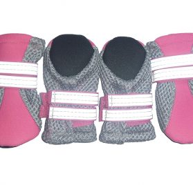 LONSUNEER Puppy Daily Soft Sole Nonslip Mesh Boots, with 2 Long and Safe Reflective Straps, Breathable and Cool, Set of 4, Size XXS Color Pink