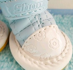 Lanyar 4pcs Pet Shoes Dog Boots for Puppy Dog Chihuahua, Anti-Slip Sky Blue XS 2