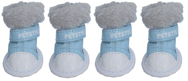 Lanyar 4pcs Pet Shoes Dog Boots for Puppy Dog Chihuahua, Anti-Slip Sky Blue XS