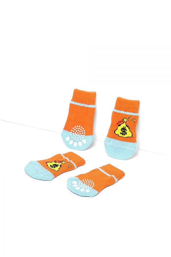 Nothing But Love Pets Toy Small Dog Non Slip 2 Sock Packs (8 pcs) for Yorkie Pom Maltese Chihuahua (Small Plus Size, Orange, Blue, Dollars) 4