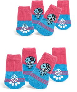 Nothing But Love Pets Toy Small Dog Non Slip 2 Sock Packs (8 pcs) for Yorkie Pom Maltese Chihuahua (Small Plus Size, Pink, Blue, Pirate)