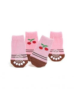 Nothing But Love Pets Toy Small Dog Non Slip 2 Sock Packs (8 pcs) for Yorkie Pom Maltese Chihuahua (Small Plus Size, Pink, Brown, Cherry) 3
