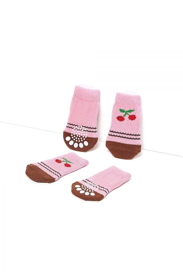 Nothing But Love Pets Toy Small Dog Non Slip 2 Sock Packs (8 pcs) for Yorkie Pom Maltese Chihuahua (Small Plus Size, Pink, Brown, Cherry) 4