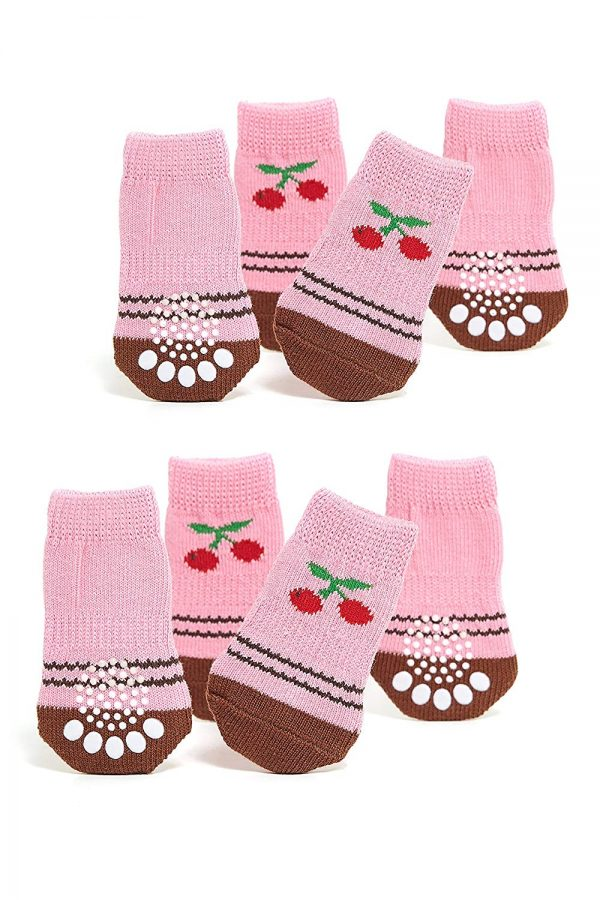 Nothing But Love Pets Toy Small Dog Non Slip 2 Sock Packs (8 pcs) for Yorkie Pom Maltese Chihuahua (Small Plus Size, Pink, Brown, Cherry)