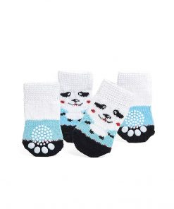 Nothing But Love Pets Toy Small Dog Non Slip 2 Sock Packs (8 pcs) for Yorkie Pom Maltese Chihuahua (Small Size, White, Blue, Panda) 3