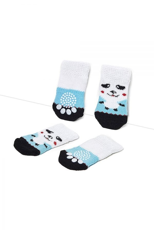Nothing But Love Pets Toy Small Dog Non Slip 2 Sock Packs (8 pcs) for Yorkie Pom Maltese Chihuahua (Small Size, White, Blue, Panda) 4