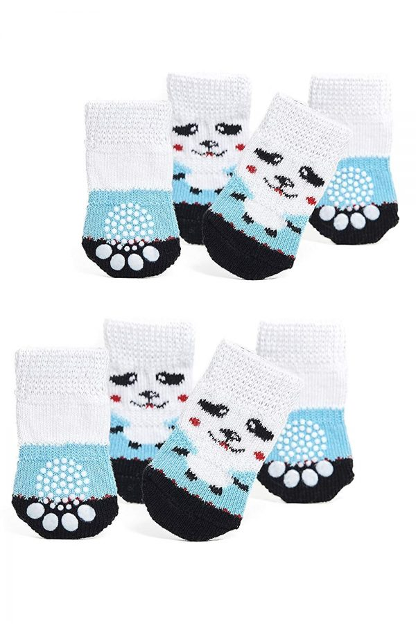 Nothing But Love Pets Toy Small Dog Non Slip 2 Sock Packs (8 pcs) for Yorkie Pom Maltese Chihuahua (Small Size, White, Blue, Panda)