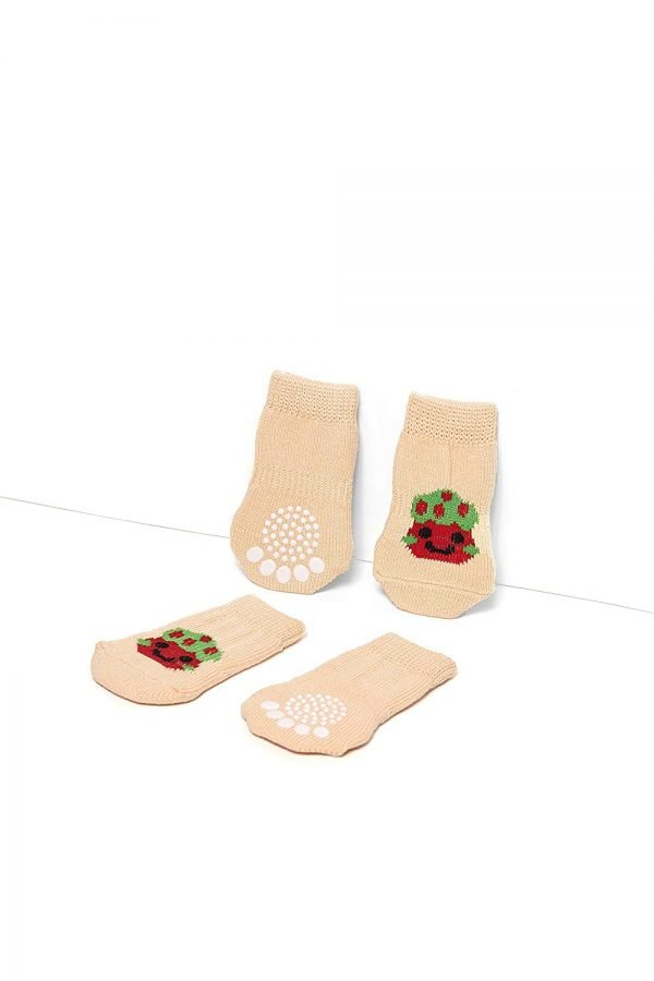 Nothing But Love Pets Toy Small Dog Non Slip 2 sock packs (8 pcs) For Yorkie Pom Maltese Chihuahua (Small Plus Size, beige, white, striped) 4