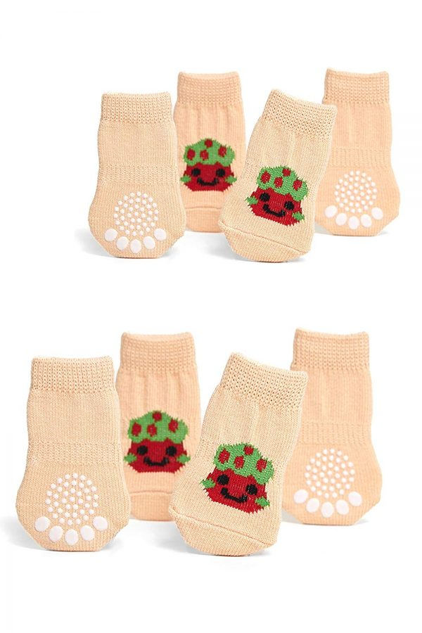 Nothing But Love Pets Toy Small Dog Non Slip 2 sock packs (8 pcs) For Yorkie Pom Maltese Chihuahua (Small Plus Size, beige, white, striped)