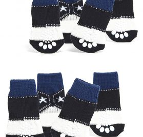 Nothing But Love Pets Toy Small Dog Non Slip 2 sock packs (8 pcs) For Yorkie Pom Maltese Chihuahua (Small Plus Size, white, black, cowboy style)