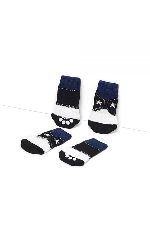 Nothing But Love Pets Toy Small Dog Non Slip 2 sock packs (8 pcs) For Yorkie Pom Maltese Chihuahua (Small Plus Size, white, black, cowboy style) 4