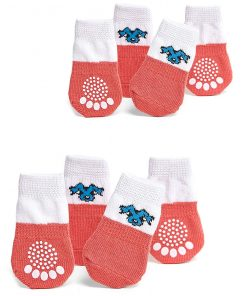 Nothing But Love Pets Toy Small Dog Non Slip 2 sock packs (8 pcs) For Yorkie Pom Maltese Chihuahua (Small Plus Size, white, peach)