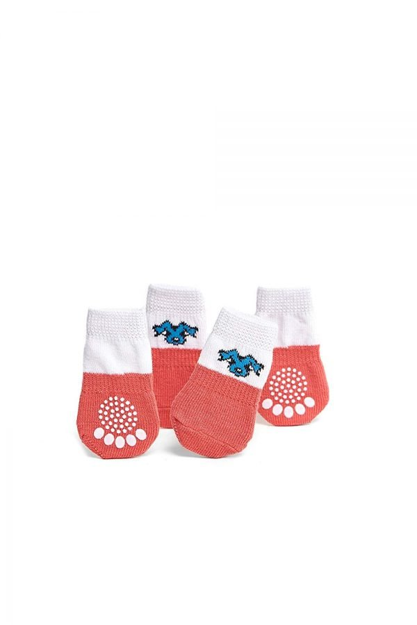 Nothing But Love Pets Toy Small Dog Non Slip 2 sock packs (8 pcs) For Yorkie Pom Maltese Chihuahua (Small Plus Size, white, peach) 3