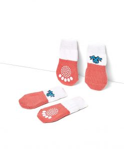 Nothing But Love Pets Toy Small Dog Non Slip 2 sock packs (8 pcs) For Yorkie Pom Maltese Chihuahua (Small Plus Size, white, peach) 4