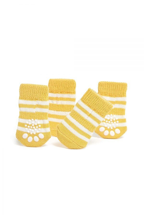 Nothing But Love Pets Toy Small Dog Non Slip 2 sock packs (8 pcs) For Yorkie Pom Maltese Chihuahua (Small Size, yellow, white) 3