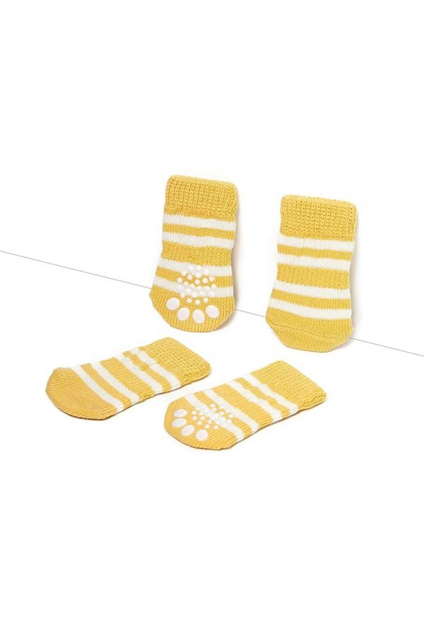 Nothing But Love Pets Toy Small Dog Non Slip 2 sock packs (8 pcs) For Yorkie Pom Maltese Chihuahua (Small Size, yellow, white) 4