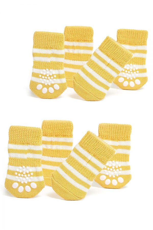 Nothing But Love Pets Toy Small Dog Non Slip 2 sock packs (8 pcs) For Yorkie Pom Maltese Chihuahua (Small Size, yellow, white)