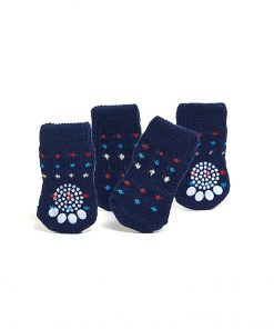 Nothing But Love Pets Toy Small Dog Non Slip 2 sock packs (8 pcs) For Yorkie Pom Maltese Chihuahua (Small size, blue, dotted) 3