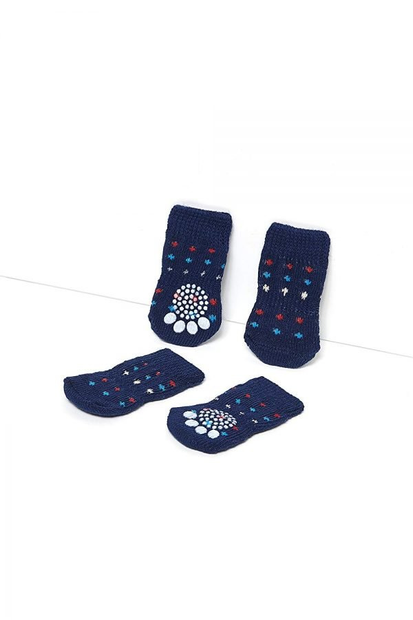 Nothing But Love Pets Toy Small Dog Non Slip 2 sock packs (8 pcs) For Yorkie Pom Maltese Chihuahua (Small size, blue, dotted) 4