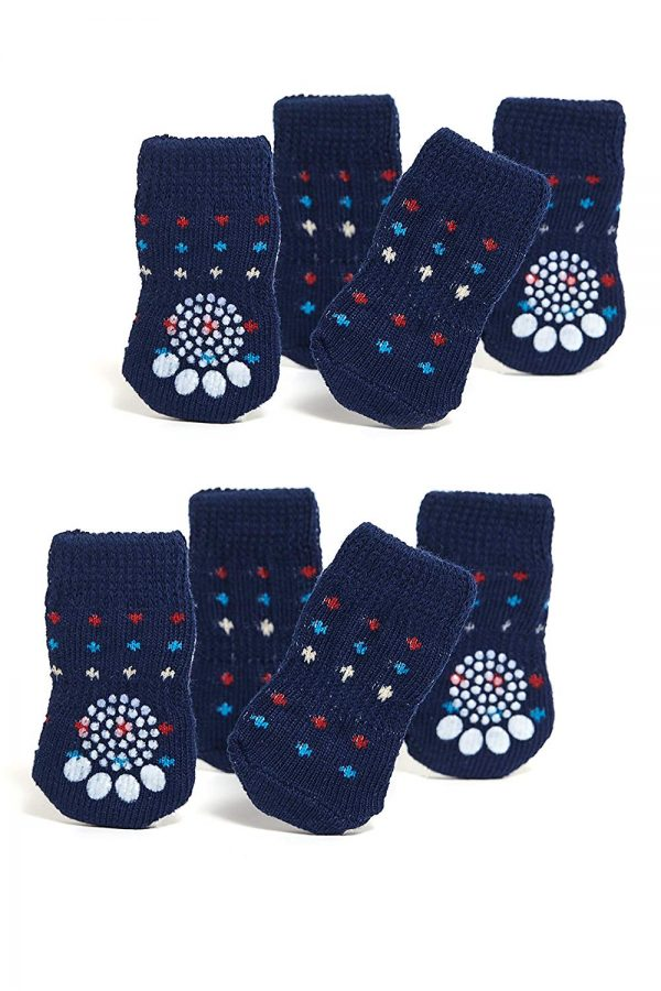 Nothing But Love Pets Toy Small Dog Non Slip 2 sock packs (8 pcs) For Yorkie Pom Maltese Chihuahua (Small size, blue, dotted)