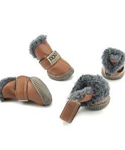 Pihappy Beautiful Puppy Shoes Skidproof Soft Snowman Warm Anti-Slip Sole Paw Protectors Little Pet Winter Dog Boots 4PCS (XS, Brown) 2