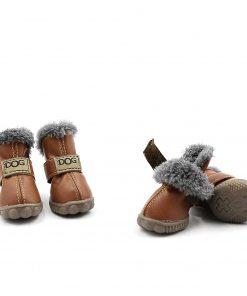 Pihappy Beautiful Puppy Shoes Skidproof Soft Snowman Warm Anti-Slip Sole Paw Protectors Little Pet Winter Dog Boots 4PCS (XS, Brown)