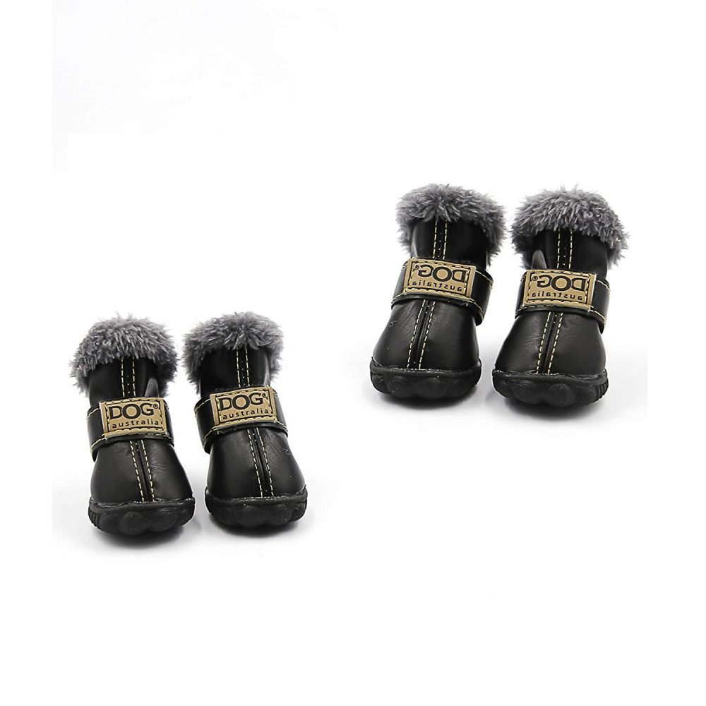 c3da7ef086 Qiao Niuniu 4Pcs Set Puppy Waterproof PU Leather Shoes Pet Dog Anti-Slip  Warm Protective