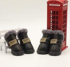 Qiao Niuniu 4Pcs Set Puppy Waterproof PU Leather Shoes Pet Dog Anti-Slip Warm Protective Boots 2
