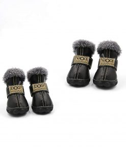 Qiao Niuniu 4Pcs Set Puppy Waterproof PU Leather Shoes Pet Dog Anti-Slip Warm Protective Boots
