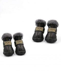 Qiao Niuniu 4Pcs Set Puppy Waterproof PU Leather Shoes Pet Dog Anti-Slip Warm Protective Boots
