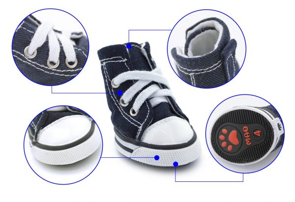 """Scheppend Anti-Slip Dog Boots for Small Dogs Sport Shoes Fashion Pet Sneakers,Blue #1(1.6"""" Lx1.2 W) 3"""