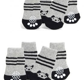 Toy Small Dog Non Slip 2 sock packs (8 pcs) For Yorkie Pom Maltese Chihuahua (Small Plus Size, black, gray, panda)