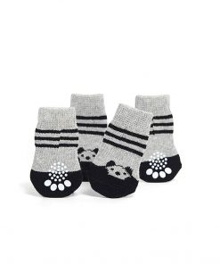 Toy Small Dog Non Slip 2 sock packs (8 pcs) For Yorkie Pom Maltese Chihuahua (Small Plus Size, black, gray, panda) 3