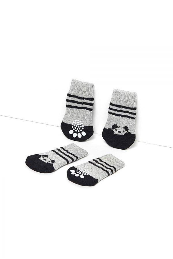 Toy Small Dog Non Slip 2 sock packs (8 pcs) For Yorkie Pom Maltese Chihuahua (Small Plus Size, black, gray, panda) 4